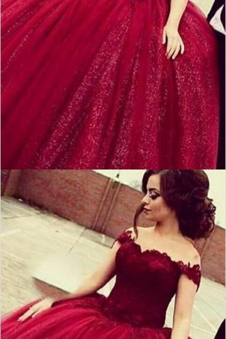 Glamorous Off Shoulder Floor-Length Sequins Wine Prom Dress with Lace Top