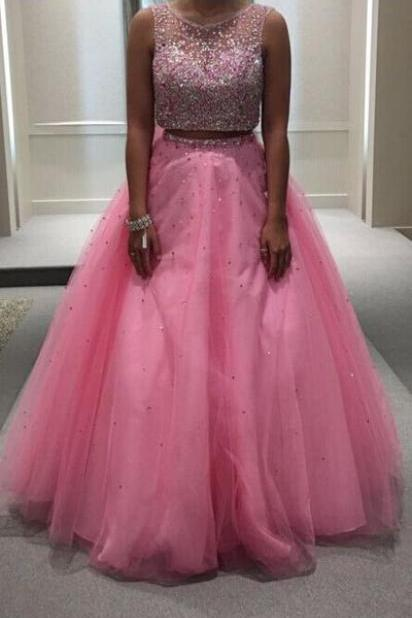 Charming Prom Dress,Beading Prom Dress,2 Pieces Prom Dress,Tulle Prom Dress
