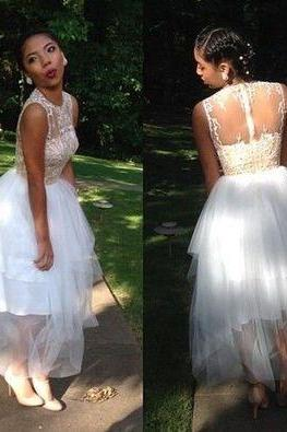 Pretty Prom Dress,Appliques Prom Dress,Tulle Prom Dress,Ankle-Length Prom Dress
