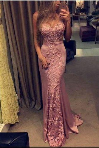 Pretty Prom Dress,Satin Prom Dress,Appliques Prom Dress,O-Neck Prom Dress