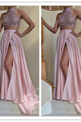 Charming Prom Dress,2 Pieces Prom Dress,High-Neck Prom Dress,Satin Prom Dress