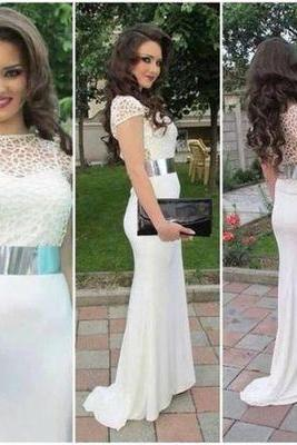 Charming Prom Dress,O-Neck Prom Dress,Short Sleeves Prom Dress
