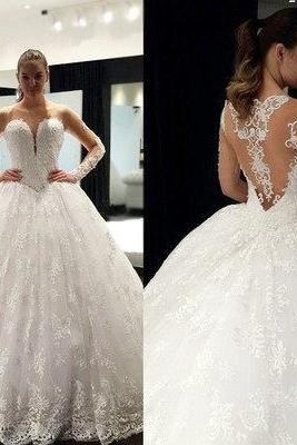 Lace Appliques Long Mesh Sleeves Floor Length Tulle Wedding Gown Featuring Illusion Open Back