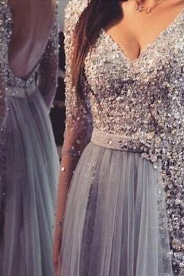Long prom dress,v-neck prom dress,sequin prom dress,long sleeve prom dress,sexy prom dress,open back prom dress, popular prom dress