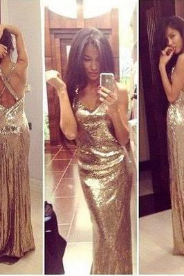 Gold Sequins Plunge V Shoulder Straps Floor Length Trumpet Formal Dress Featuring Criss-Cross Open Back, Prom Dress