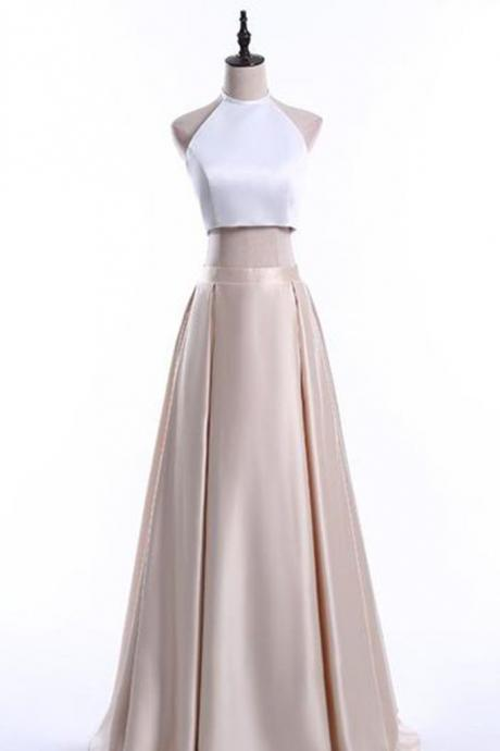 Elegant light golden satins two pieces halter simple A-line long dresses,formal dresses