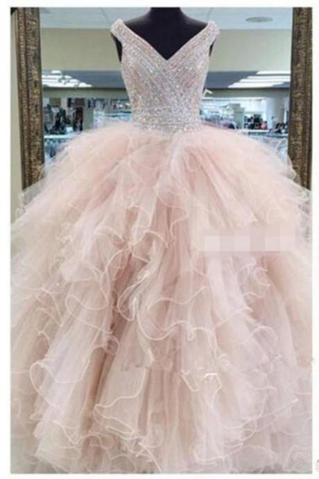 Pink organza V-neck sequins beaded tiered A-line long dresses,ball gown dresses