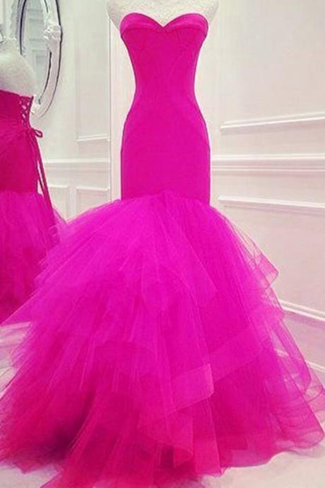 Hot Pink Sweetheart Neckline Full Length Mermaid Prom Dress Tiered Tulle and Corset Bodice