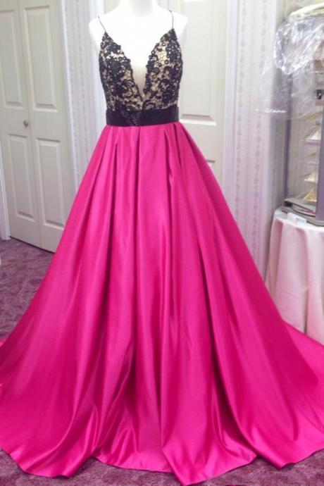 Custom Made Pink Floor Length Satin A-Line Prom Dress with Plunge V-Neckline and Lace Applique Bodice