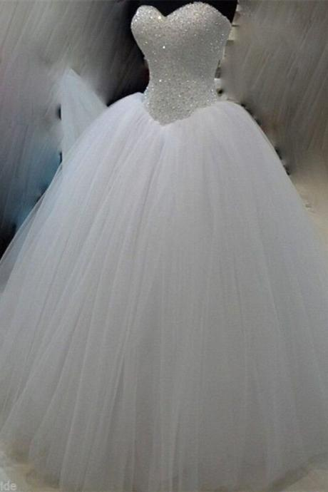White organza sweetheart sequins beading formal long dress ,wedding dress