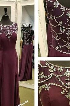 Burgundy Mermaid Long Prom Dress, 2017 Prom Dress with Side Slit