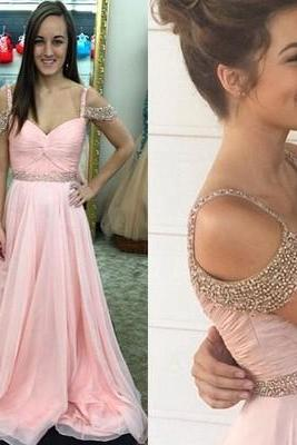 Elegant Long Pink Chiffon Prom Dress with Beads
