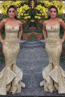 Fashion Mermaid Long Strapless Gold Sequins Prom Dress Party Dress