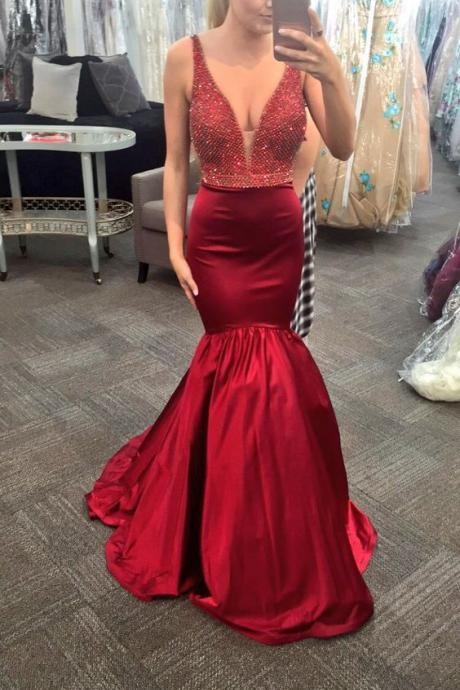Charming Prom Dress,Satin Prom Dress,Beading Prom Dress,Mermaid Evening Dress