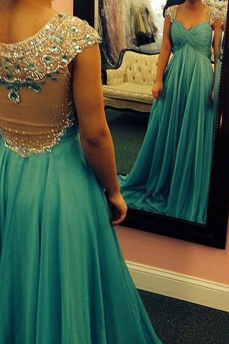 Charming Prom Dress,Beading Prom Dress,Chiffon Prom Dress,Scoop Evening Dress