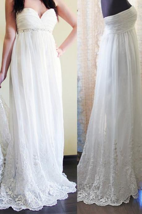 Chiffon Ruched Sweetheart Floor Length A-Line Wedding Dress Featuring Lace Appliques and Beaded Embellishment