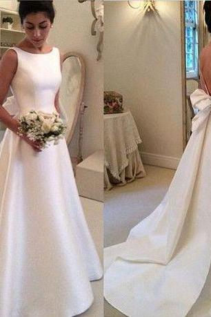 Satin Bateau Neck Sleeveless Floor Length A-Line Wedding Dress Featuring Bow Accent Open Back and Train