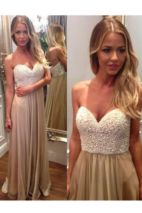 Charming Prom Dress,Sweetheart Prom Dress,Beading Prom Dress,Chiffon Prom Dress,A-Line Evening Dress