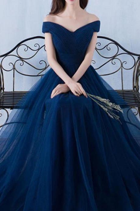 A Line Off Shoulder Floor Length Dark Blue Prom Dress with Pleats