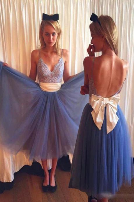 Straps Lace Prom Bowknot Backless Dresses,Cocktail Dress,Graduation Dresses,Homecoming Dresses