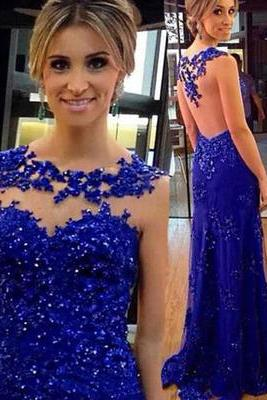 Royal Blue Sexy Prom Dresses,Long Evening Dresses,Backless Prom Dresses On Sale
