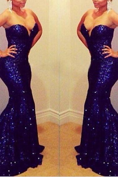 Fashin Royal Blue Sequin Mermaid Long Prom Dress, Sweetheart Prom Dress 2017,Trumpet Evening Dress, Evening Prom Gown,Wedding Dress