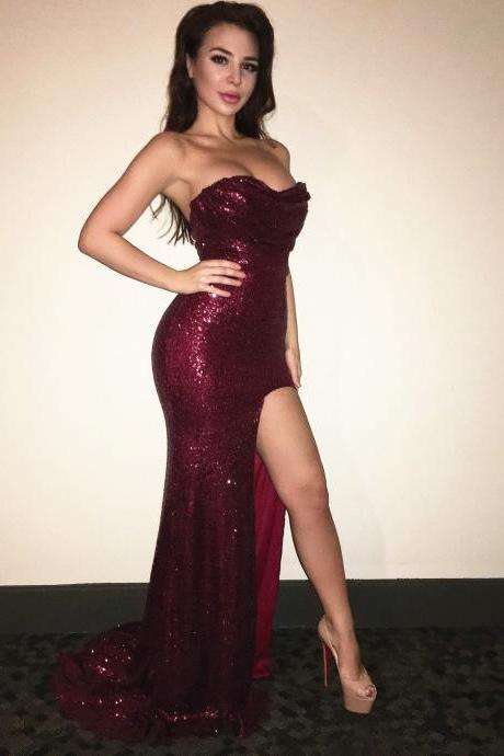 Burgundy Prom Dress,Sequins Prom Gowns,Mermaid Evening Dresses,Sexy Formal Dress,Women's Prom Dress 2017