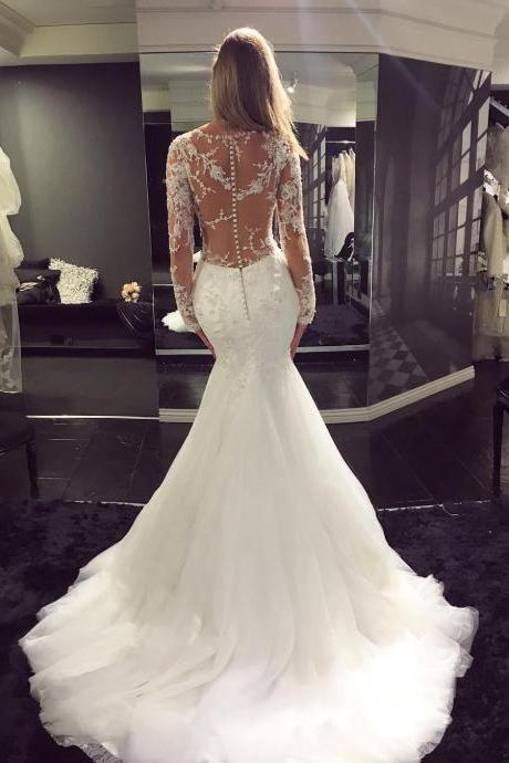 V-Neck Lace Appliqués Mermaid Wedding Dress with Long Sheer Sleeves