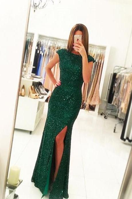 Green Round Neck Sequin Mermaid Floor-Length Prom Dress, Evening Dress with Side Slit and Cap Sleeves