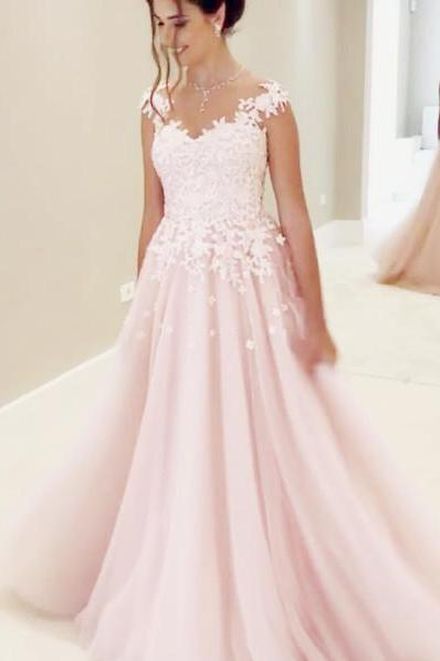 Cap Sleeves Prom Dresses,Lace Appliques Evening Dress,Sheer Neck Prom Gowns,Long Prom Dresses