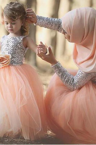 Little Girls Dress,Sequins Silver Peach Mother and Daughter Fashion Dress