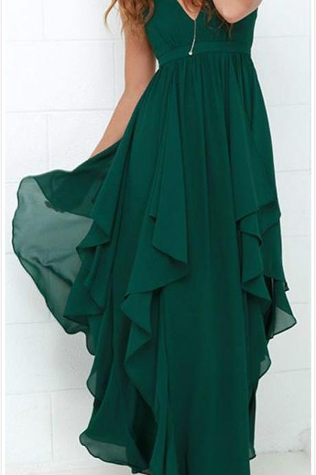 Chic Deep V -Neck Prom Dress,Flouncing Evening Dress,Chiffon Party Dress,Chiffon Prom Dress