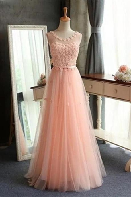Appliques Tulle Prom Dress,Long Prom Dresses,Charming Prom Dresses,Evening Dress Prom Gowns, Formal Women Dress,prom dress