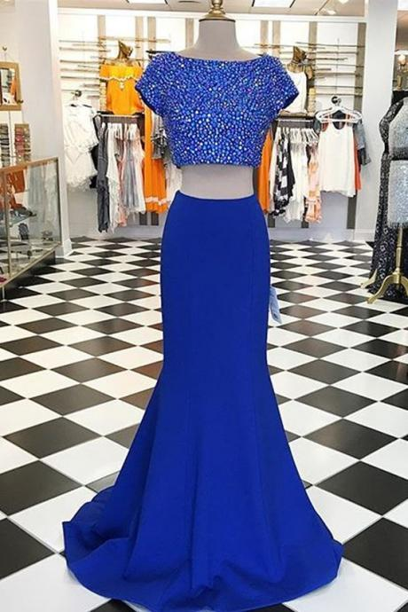 Modern Two Piece Prom Dress, Short Sleeves Prom Dress,Beading Evening Dress,Short Sleeves Blue Party Dress