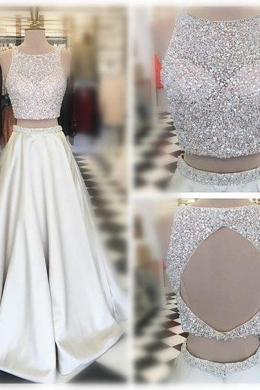 Sleeveless Prom Dress,Two Pieces Evening Dress,Long Beading Prom Dresses,Sexy Back Hole Party Dress