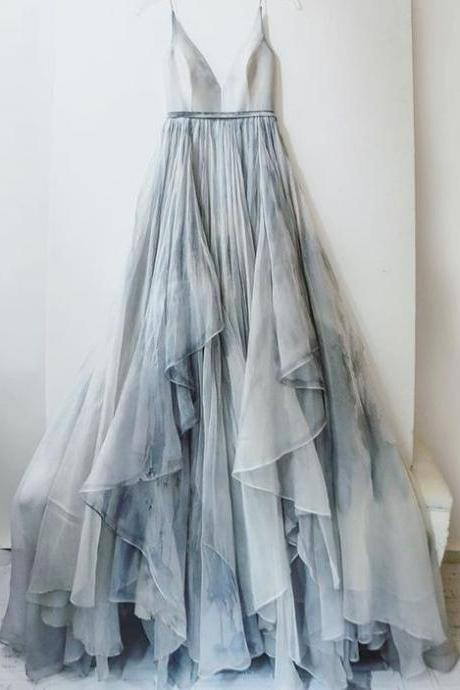 2017 Custom Made Gray Prom Dress,Sexy Spaghetti Straps Party Dress,Gradient Evening Dress,Chiffon Party Dress