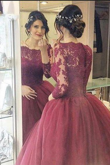 2017 Custom Made Lace Prom Dress,Long Sleeves Dress,Floor Length Party Dress,High Quality