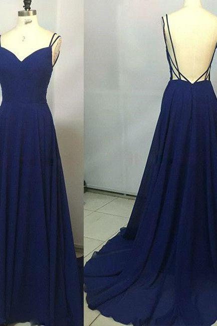 2017 Custom Made Royal Blue Prom Dress,Spaghetti Straps Party Dress,Sleeveless Party Dress,High Quality