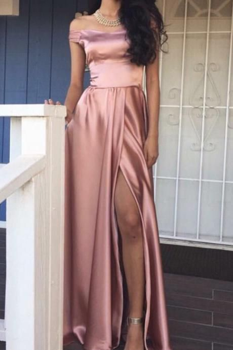2017 Custom Made Pink Prom Dress, Off the Shoulder Party Dress,Side Slit Prom Dress,high quality