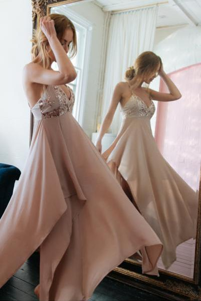 Gorgeous Straps Prom Dress,Long V Neck Chiffon Party Dress,Sexy Backless Prom Dress,Prom Gown 2017