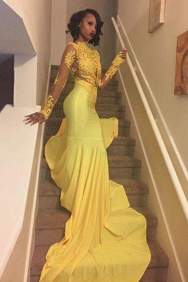 2017 Sexy African Black Girl Yellow Mermaid Prom Dresses 2017 Court Train Appliques Lace Long Sleeve Prom Dress Evening Party Dress