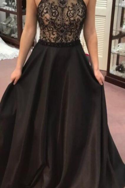 A-line prom dresses, black prom dresses, beaded prom dresses, elegant prom dresses, long evening dresses, party dresses