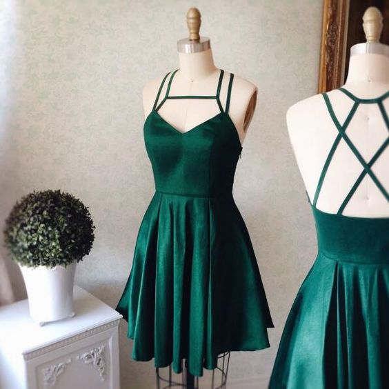 Green satins short dresses,sexy open back mini party dresses