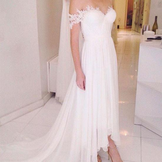 SIMPLE A LINE OFF SHOULDER LACE TULLE PROM DRESS LACE EVENING DRESS
