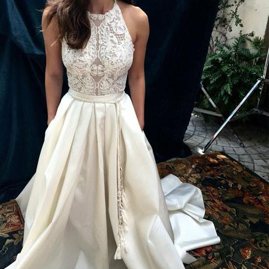 ELEGANT CUSTOM MADE A LINE WHITE LACE SATIN LONG PROM GOWN
