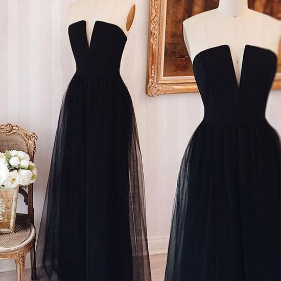 SIMPLE BLACK A-LINE COLLARLESS TULLE LONG PROM DRESS BLACK FORMAL DRESS