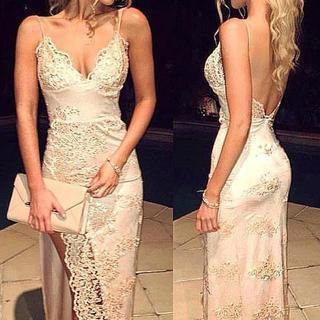 Gorgeous Sheath Spaghetti Straps Lace V Neck Prom Dress With Front Split