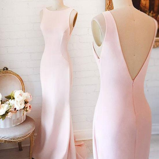 CUTE A LINE ROUND NECK SATIN PROM DRESS