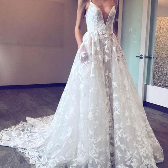 WHITE V NECK SPAGHRETTI STRAPS LACE LONG PROM DRESS LACE EVENING DRESS