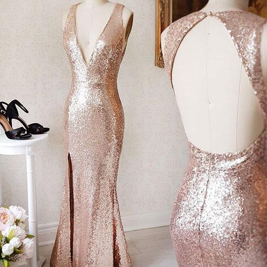 CHAMPAGNE V NECK SEQUIN OPEN BACK LONG PROM DRESS